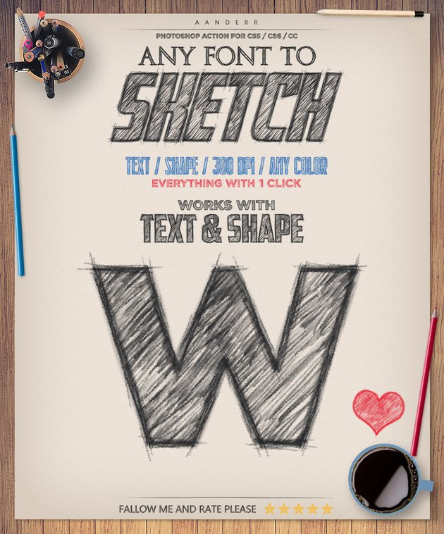 Any font to sketch promotion image