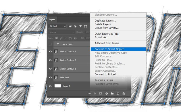 Converting the layers to one smart object