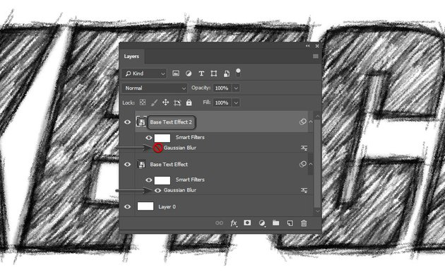 Duplicating the layer and hiding the blur filter of the second layer