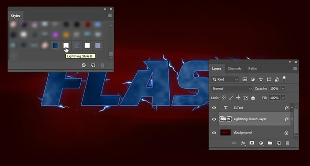 Applying the layer style B to the lightning layer