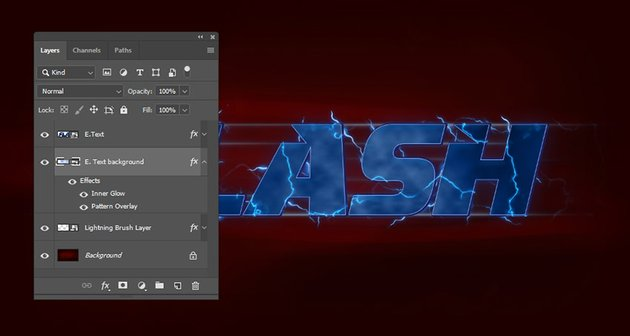 E Text background layer reconverted to a smart object