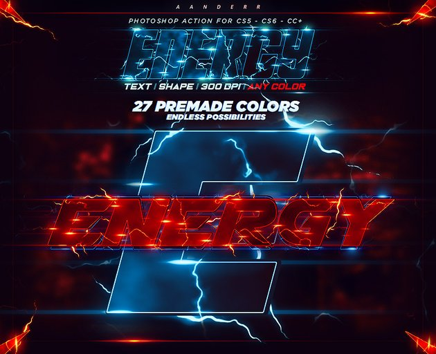 Energy Text Photoshop Action promo image