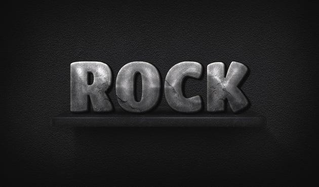 Rock 3D Text Effect final result