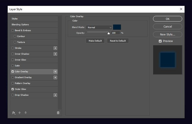 Color Overlay settings