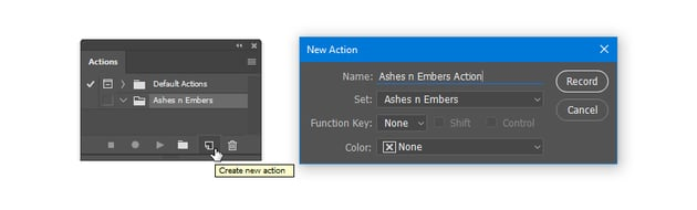 Make a New Action called Ashes n Embers Action
