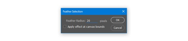 Feather selection with Radius 20 pixels