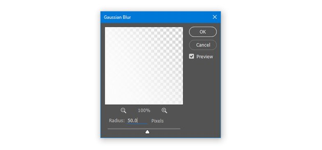Apply Gaussian Blur with Radius 50 pixels