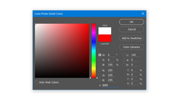 Create a Solid Color Fill layer with hex color code ffffff