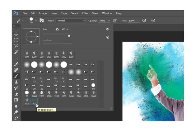 Select the br-color-dust-5 brush