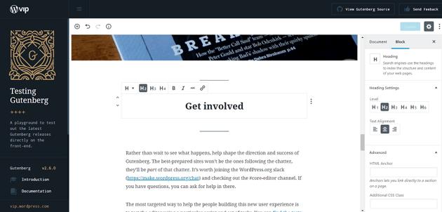 Gutenberg Editing Interface for WordPress