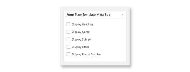 Form Page Template Meta Box with Options