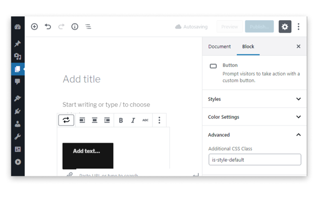 CSS class added to Additional CSS Class text field