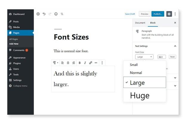 Block font size options