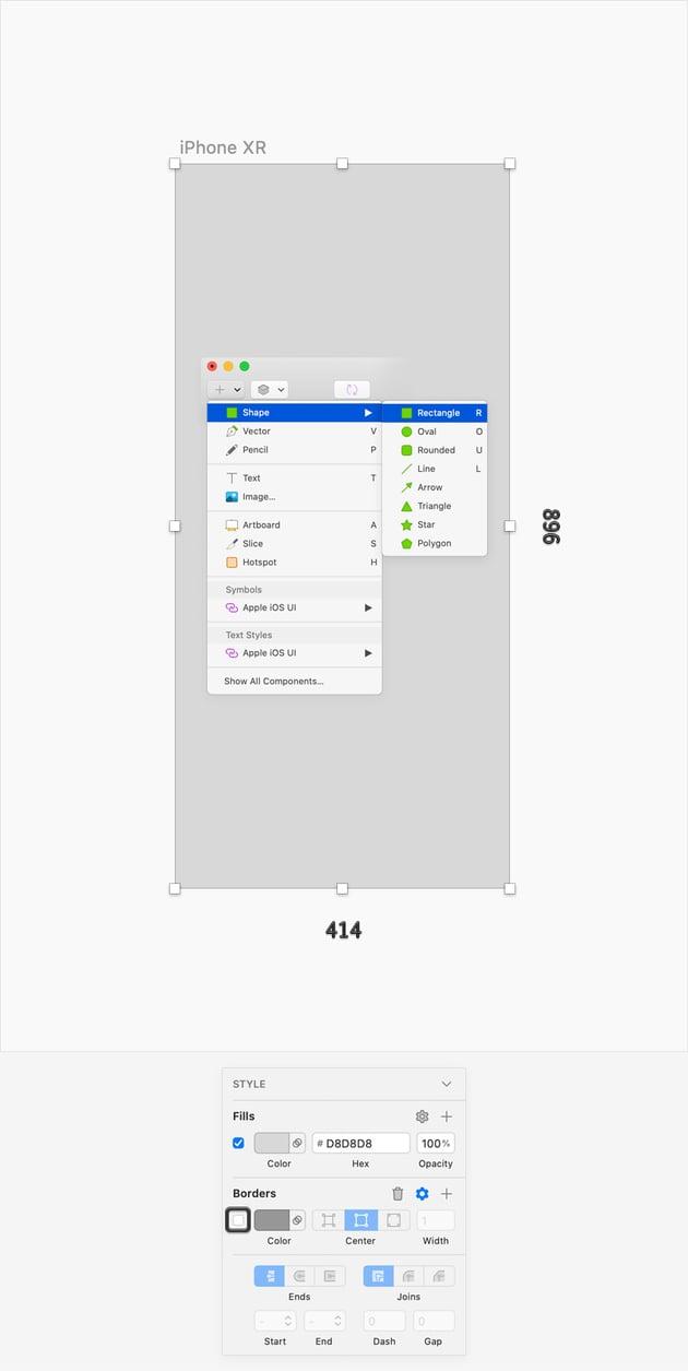 sketch UI design rectangle