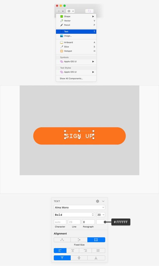 sketch UI design text