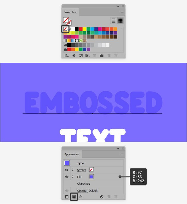 text color appearance panel