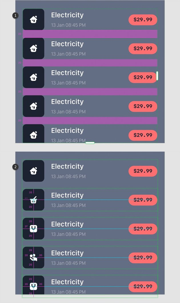 transactions repeat grid