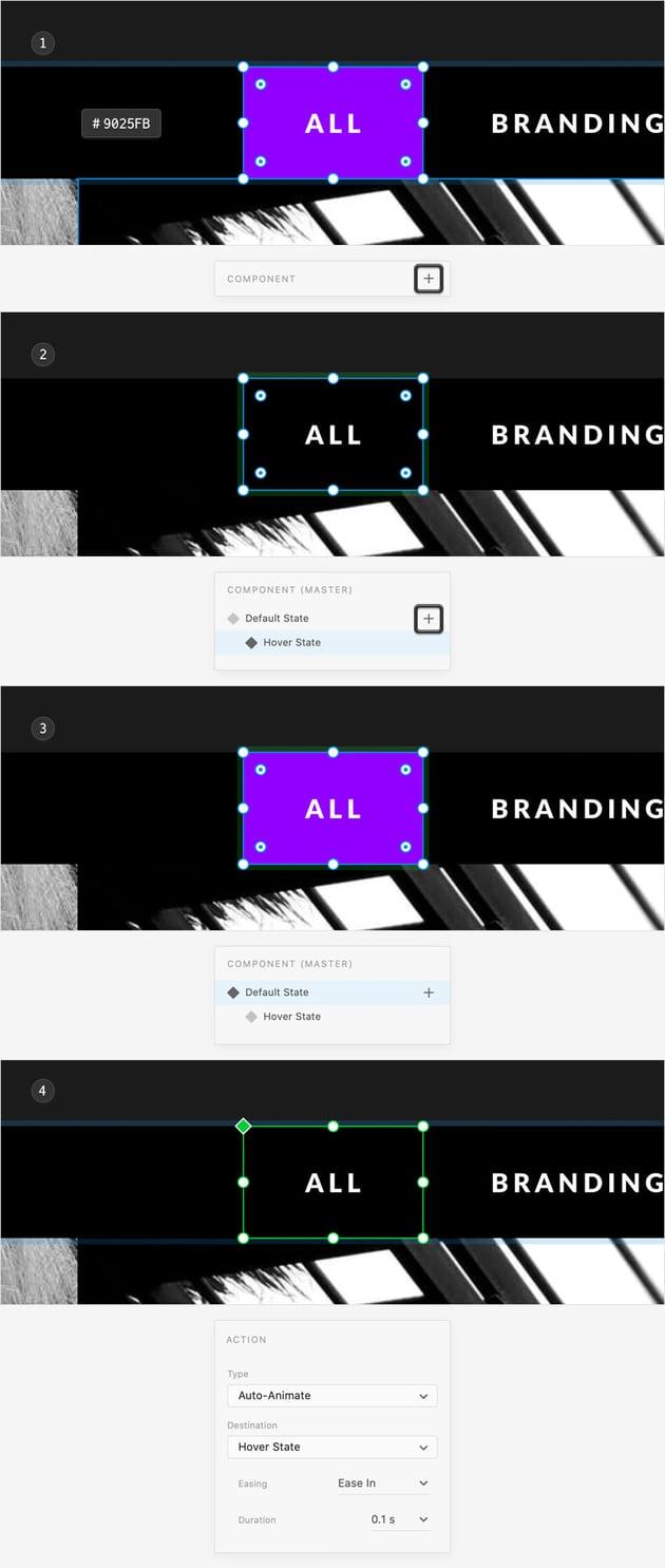 portfolio menu hover state prototype