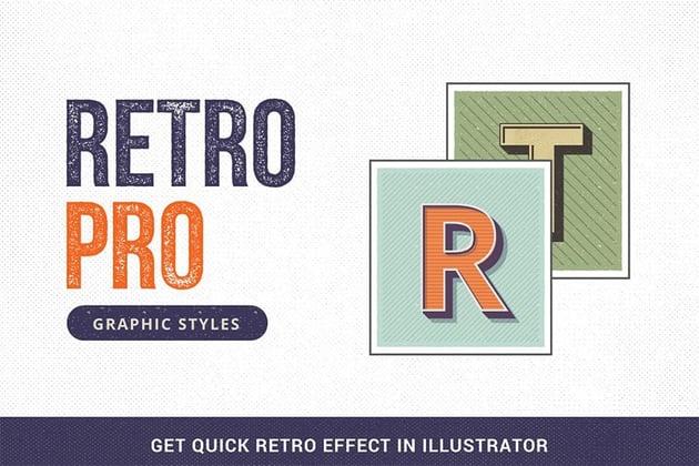 retro text effect illustrator