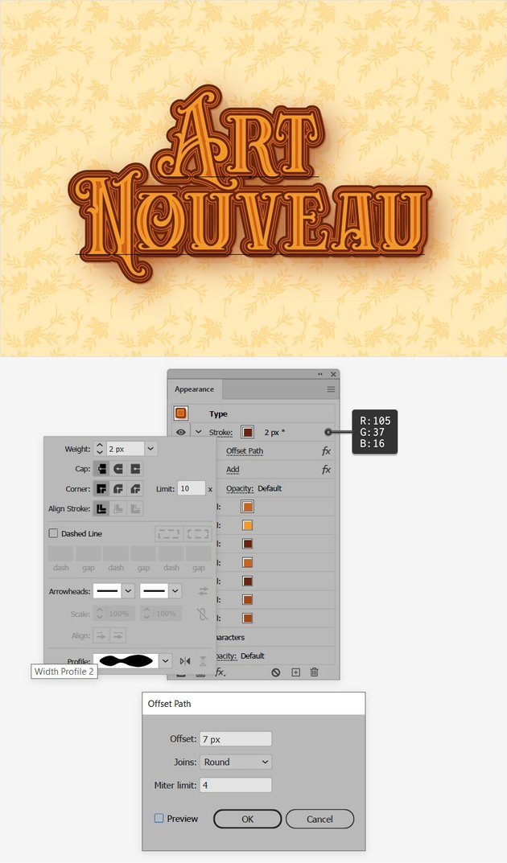 Art Nouveau text stroke