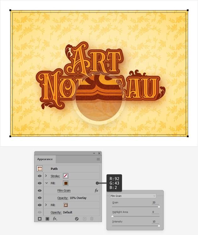 Art Nouveau text texture