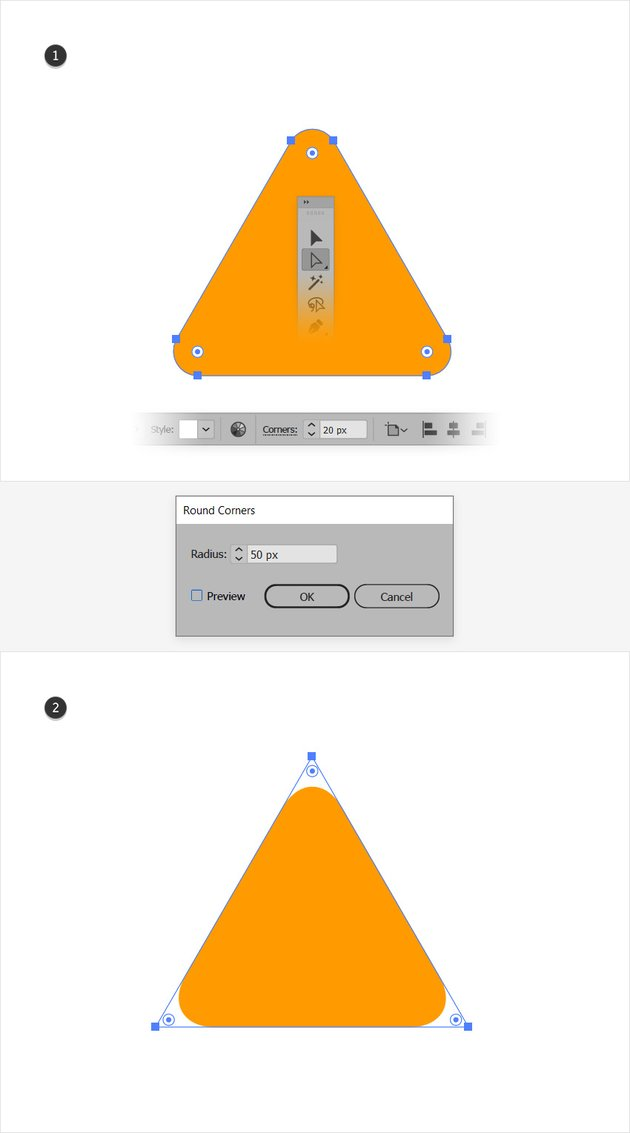 rounded triangle illustrator