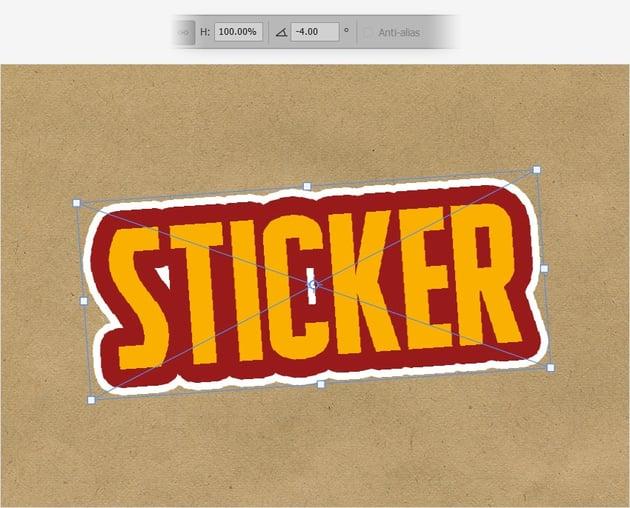 sticker text rotate