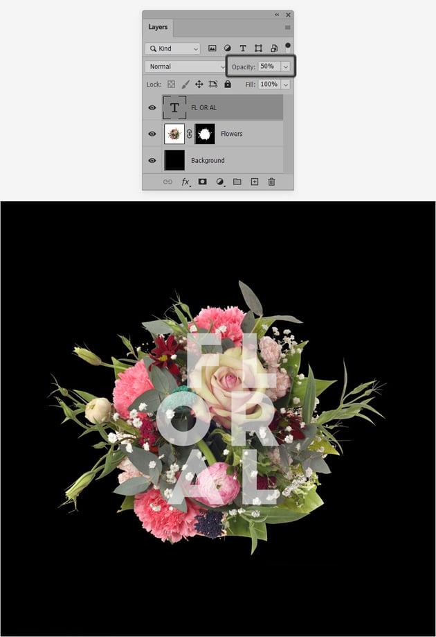 opacity flower text effect