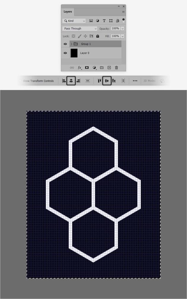 group center hexagon