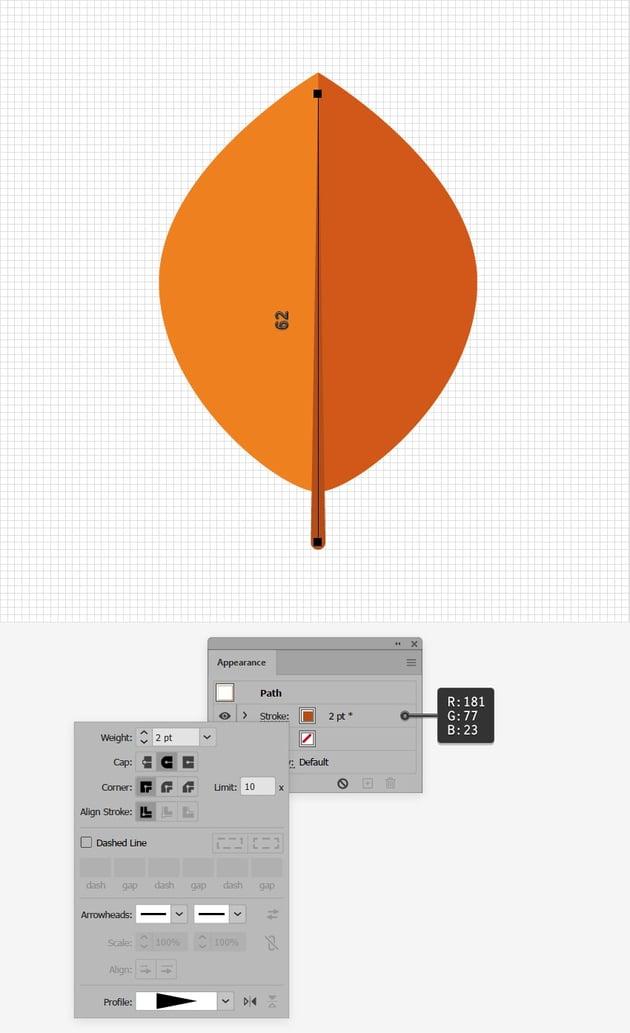 orange leaf design line