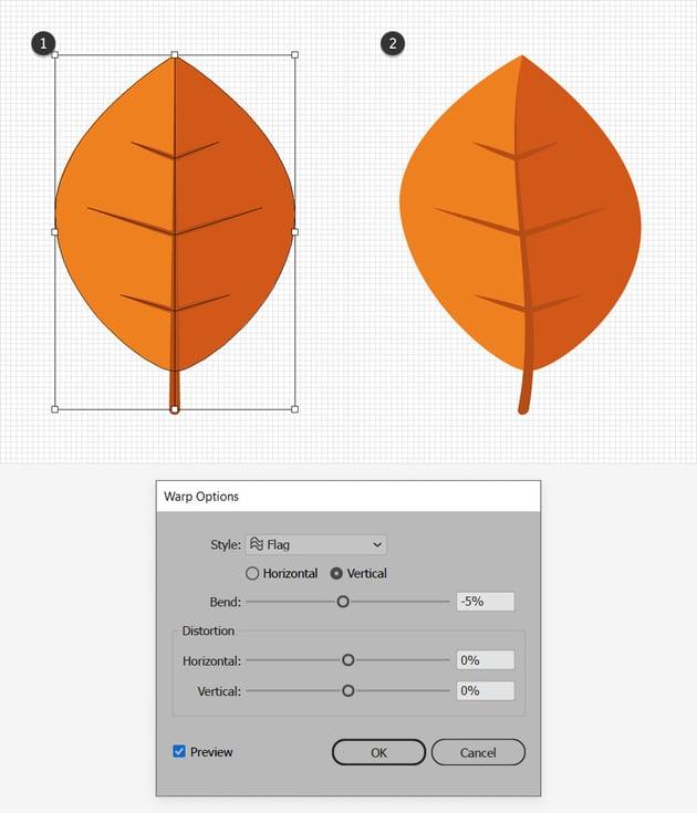 orange leaf design warp