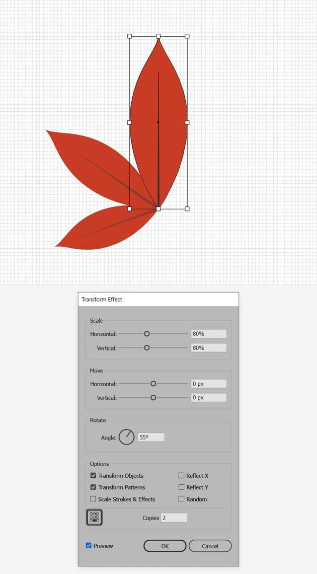 red leaf design transform