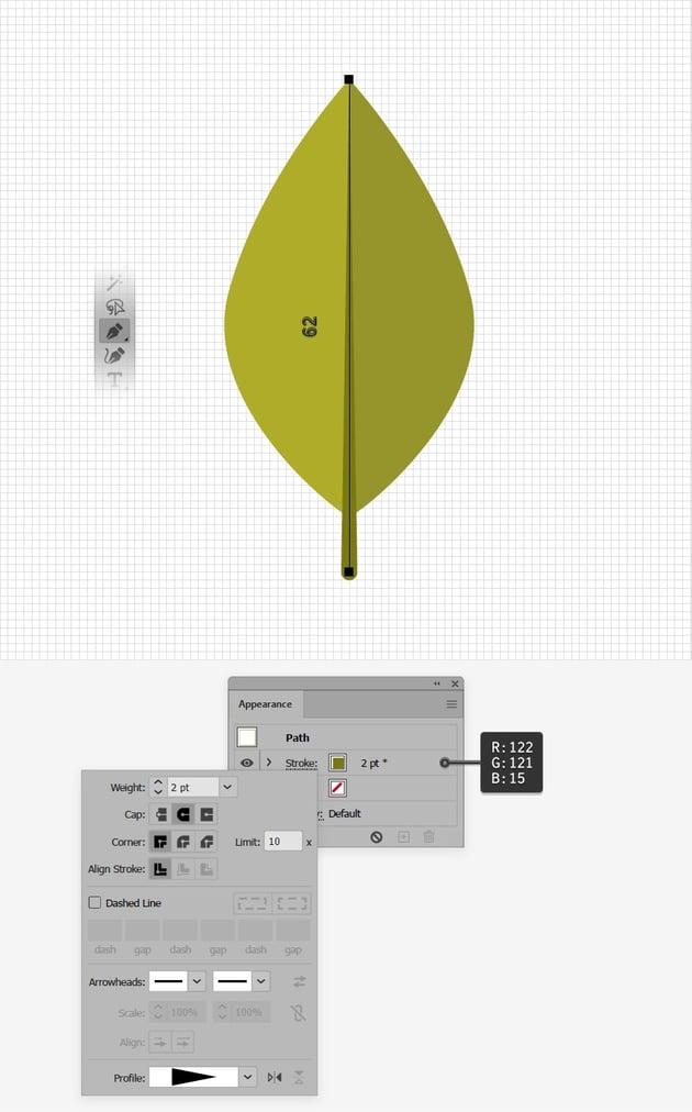 leaf design stroke