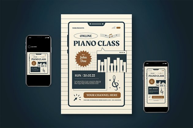 piano lessons flyer