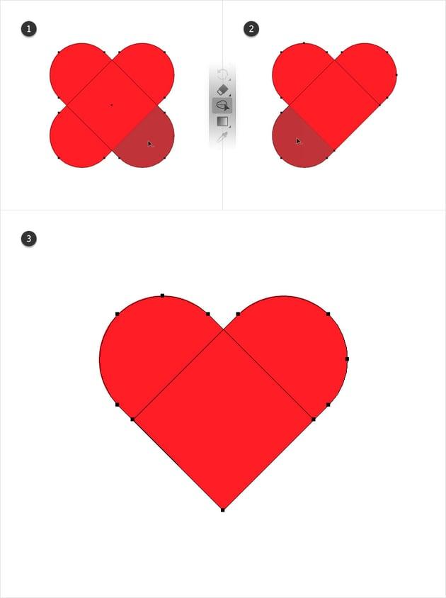 cut heart shape illustrator
