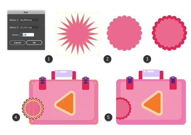 Making of a rounded star sticker