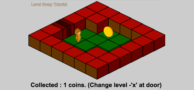 Isometric level with doors trigger tiles