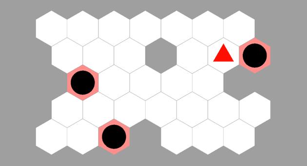 hexagonal sokoban finished level
