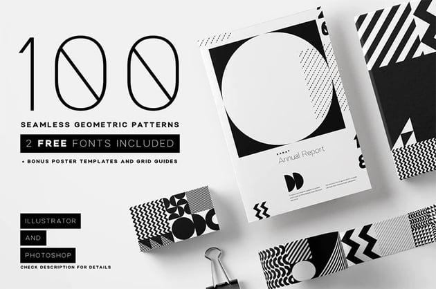 100 seamless geometric patterns