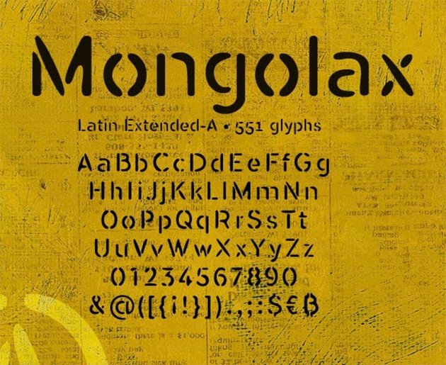 Mongolax Stencil Type Fonts