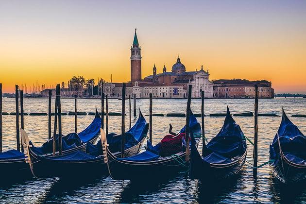 Venice gondolas and San Giorgio basilica