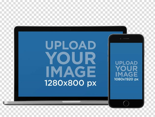 iPhone in Portrait Position and MacBook Pro Over a PNG Background Mockup