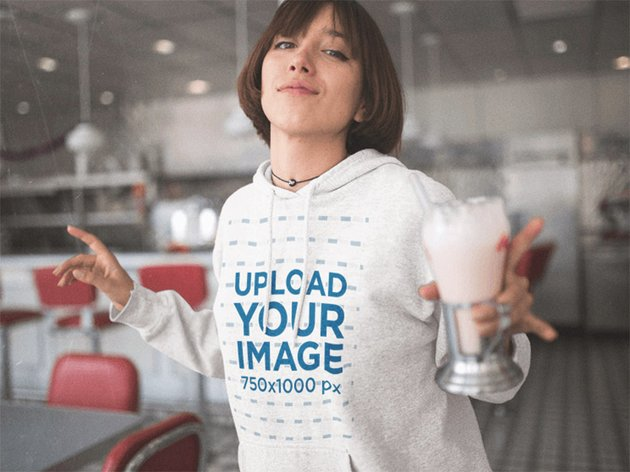 Template of a Young Woman Dancing While Holding a Milkshake