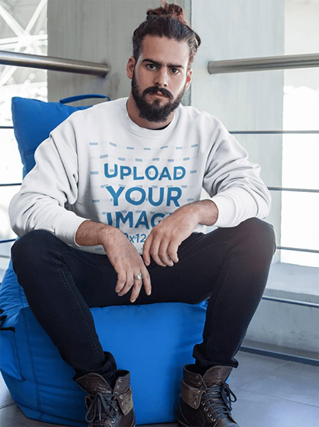 Hipster Wearing a Crewneck Sweatshirt Template