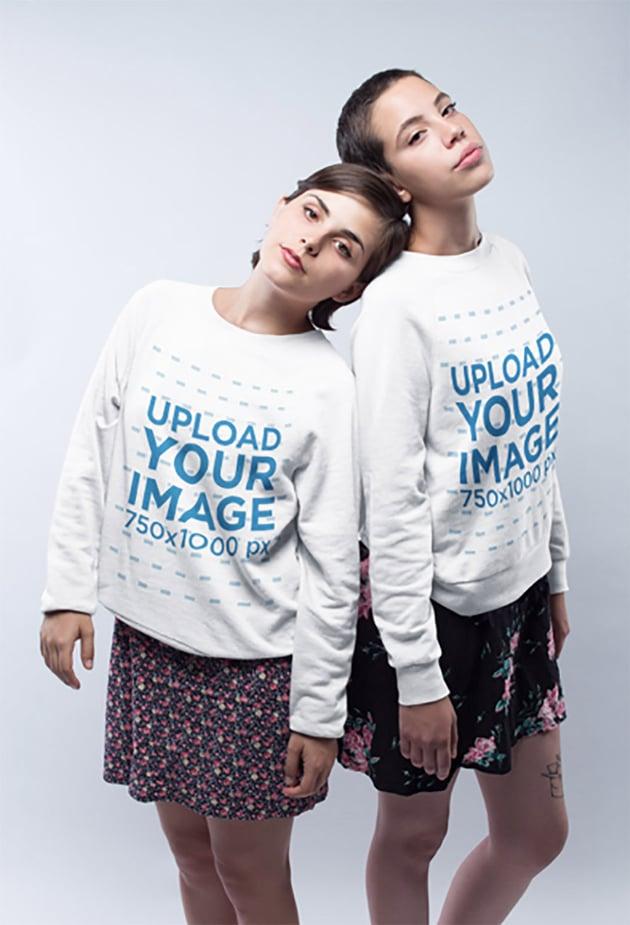 Sweatshirt Mockup Featuring Couple