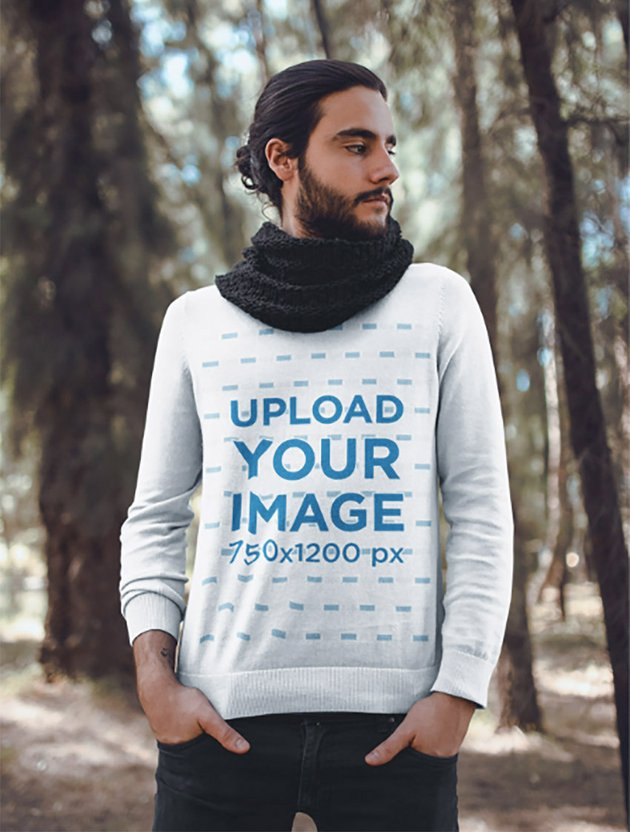 Mockup of a Fashionable Man Wearing a Sweater in the Woods