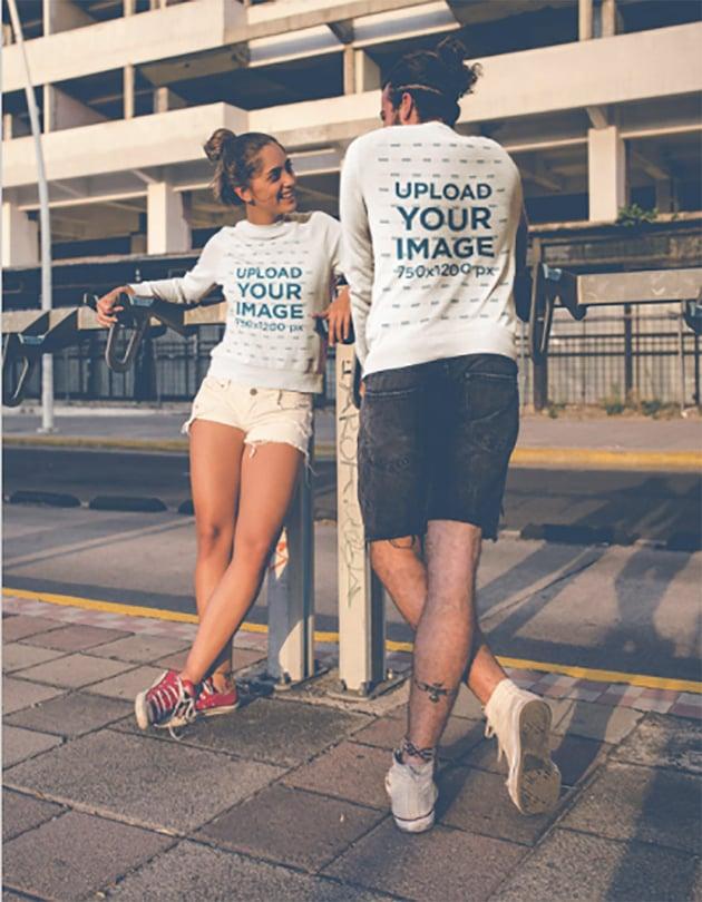 Couple Wearing Crewneck Sweatshirts Mockups