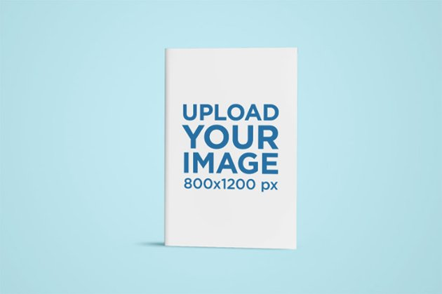 Mockup of a Book Centered in a Solid Background