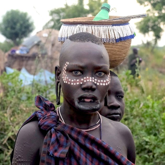 Woman and Lip Plate Mursi Tribe Ethiopia