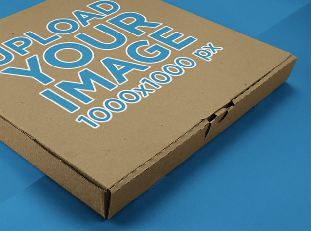 Closeup Mockup of a Pizza Box Lying on a Multicolor Surface